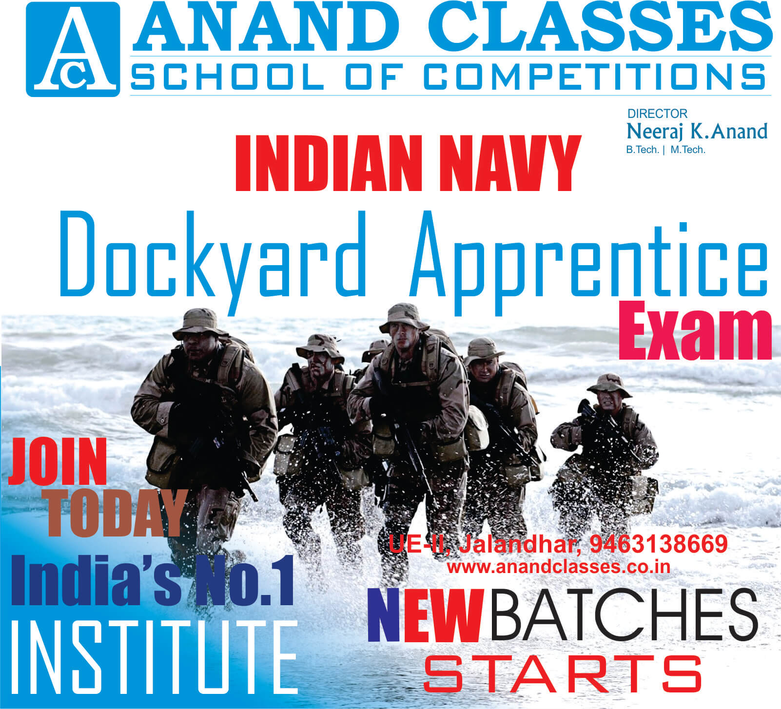 Indian navy dockyard apprentice coaching in jalandhar neeraj anand classes